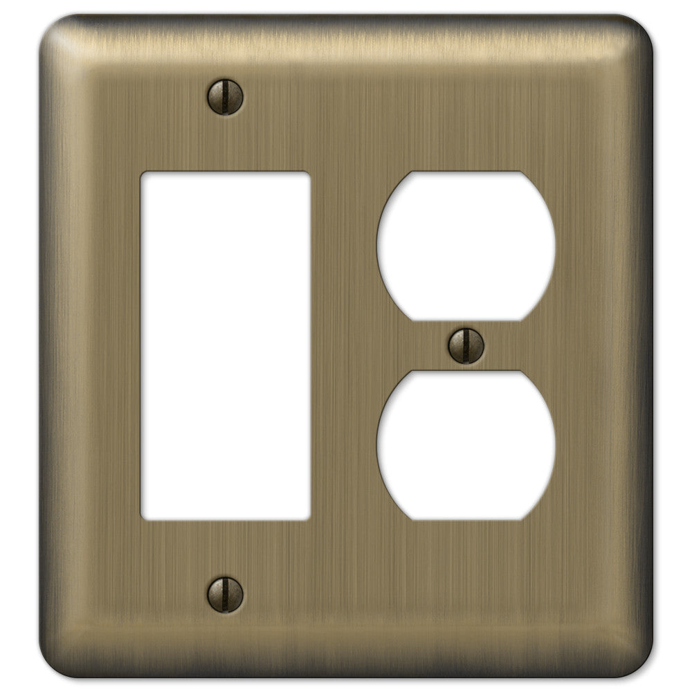 Devon Brushed Brass Steel - 1 Rocker / 1 Duplex Outlet Wallplate - Wallplate Warehouse