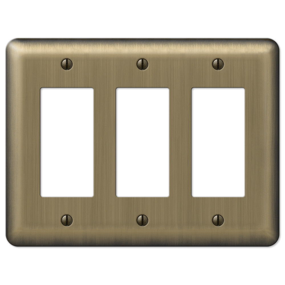Devon Brushed Brass Steel - 3 Rocker Wallplate - Wallplate Warehouse