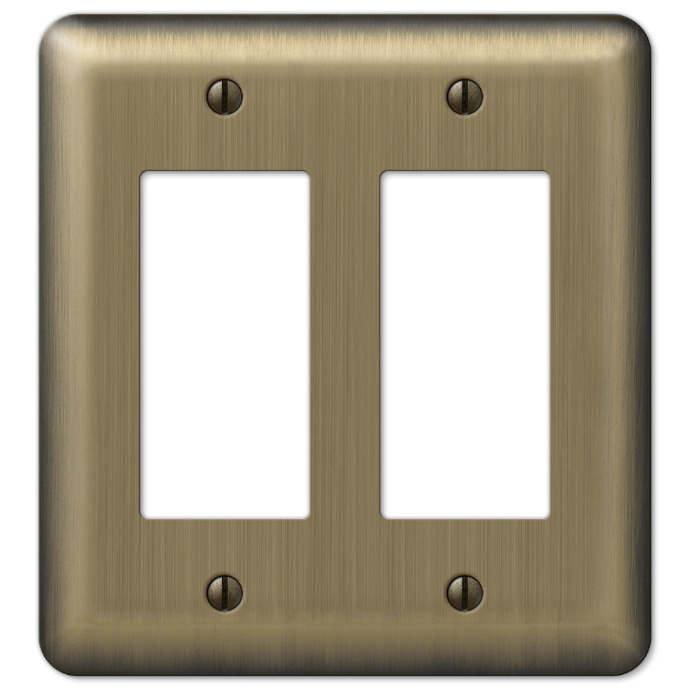 Devon Brushed Brass Steel - 2 Rocker Wallplate - Wallplate Warehouse