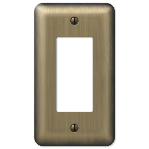 Devon Brushed Brass Steel - 1 Rocker Wallplate - Wallplate Warehouse