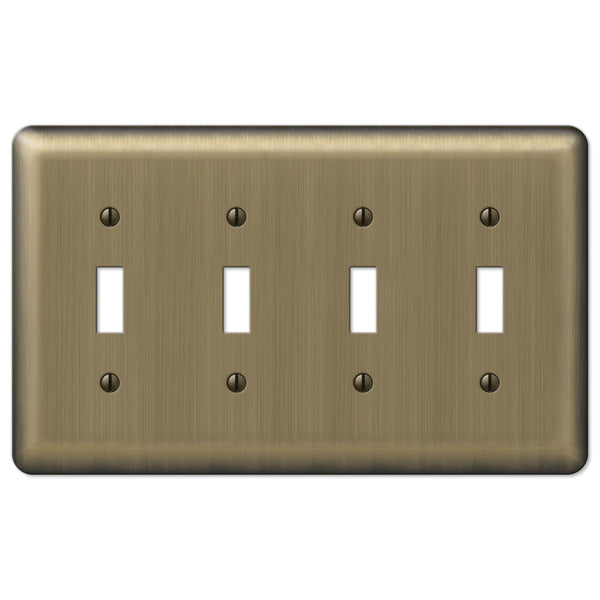 Devon Brushed Brass Steel - 4 Toggle Wallplate - Wallplate Warehouse