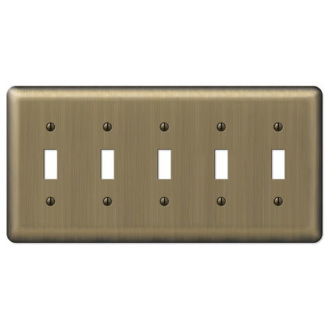Devon Brushed Brass Steel - 5 Toggle Wallplate - Wallplate Warehouse
