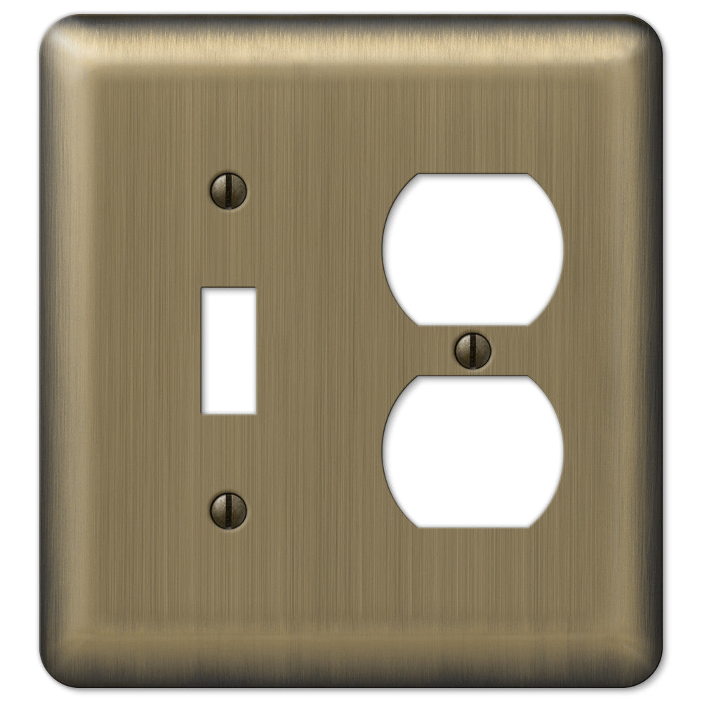 Devon Brushed Brass Steel - 1 Toggle / 1 Duplex Outlet Wallplate - Wallplate Warehouse