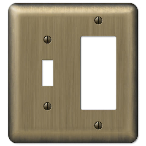 Devon Brushed Brass Steel - 1 Toggle / 1 Rocker Wallplate - Wallplate Warehouse
