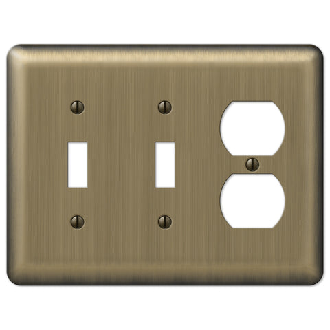 Devon Brushed Brass Steel - 2 Toggle / 1 Duplex Outlet Wallplate - Wallplate Warehouse