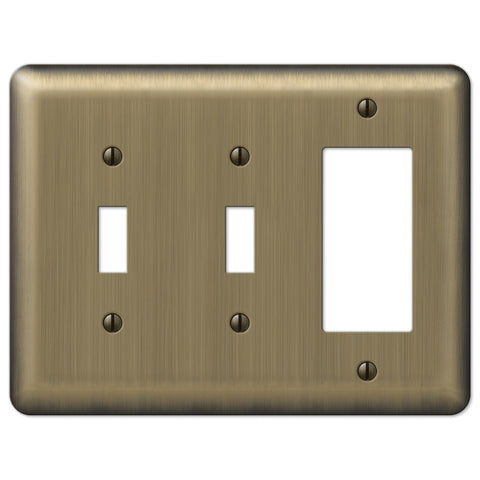 Devon Brushed Brass Steel - 2 Toggle / 1 Rocker Wallplate - Wallplate Warehouse