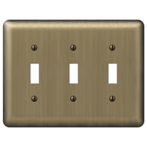 Devon Brushed Brass Steel - 3 Toggle Wallplate - Wallplate Warehouse