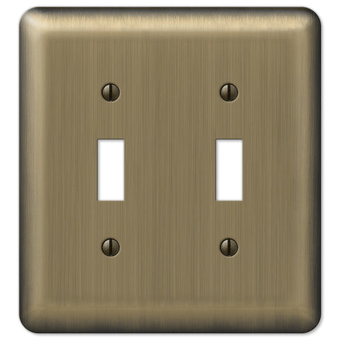 Devon Brushed Brass Steel - 2 Toggle Wallplate - Wallplate Warehouse
