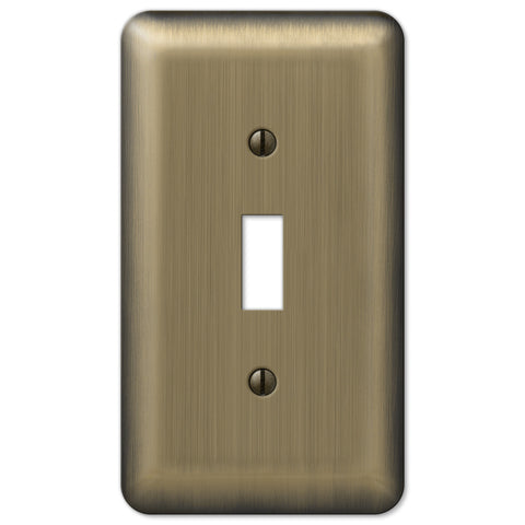 Devon Brushed Brass Steel - 1 Toggle Wallplate - Wallplate Warehouse