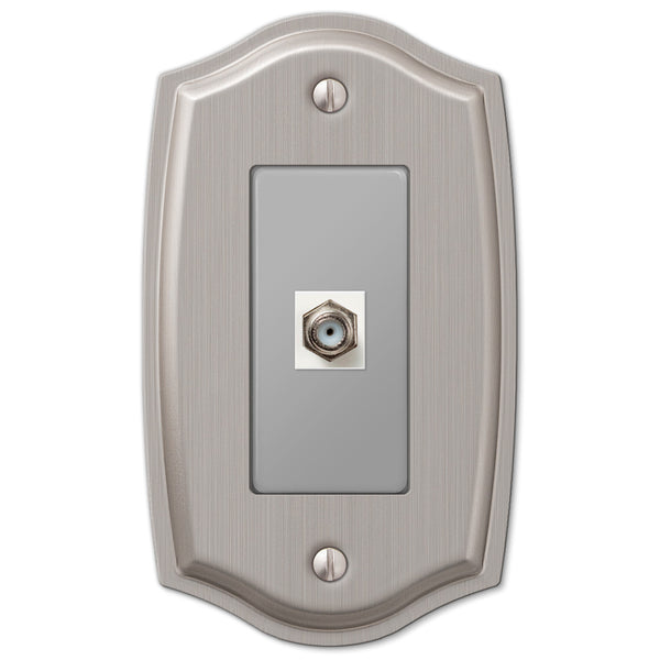 Sonoma Brushed Nickel Steel - 1 Cable Jack Wallplate - Wallplate Warehouse