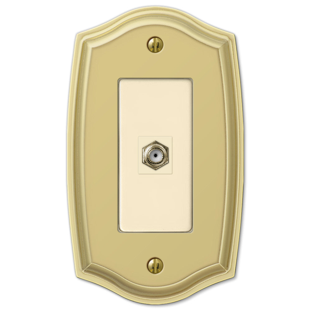 Sonoma Polished Brass Steel - 1 Cable Jack Wallplate - Wallplate Warehouse