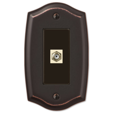 Sonoma Aged Bronze Steel - 1 Cable Jack Wallplate - Wallplate Warehouse