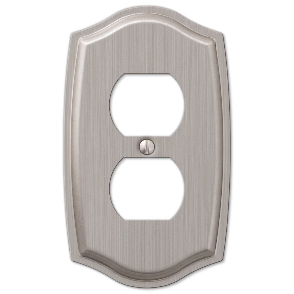 Sonoma Brushed Nickel Steel - 1 Duplex Outlet Wallplate - Wallplate Warehouse