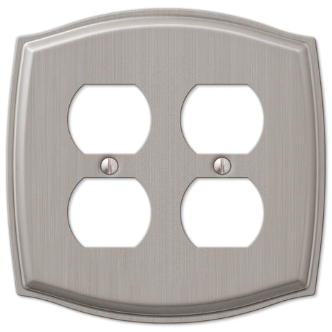 Sonoma Brushed Nickel Steel - 2 Duplex Outlet Wallplate - Wallplate Warehouse