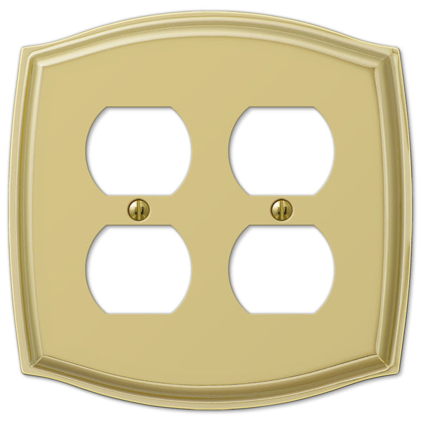 Sonoma Polished Brass Steel - 2 Duplex Outlet Wallplate - Wallplate Warehouse