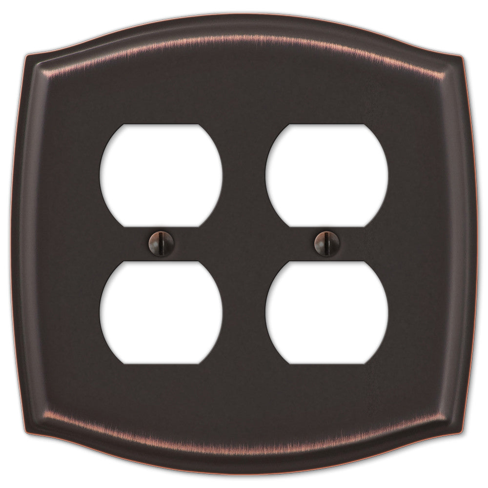 Sonoma Aged Bronze Steel - 2 Duplex Outlet Wallplate - Wallplate Warehouse