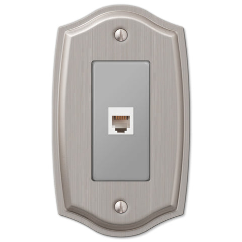 Sonoma Brushed Nickel Steel - 1 Phone Jack Wallplate - Wallplate Warehouse