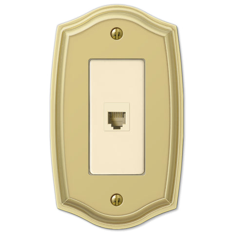 Sonoma Polished Brass Steel - 1 Phone Jack Wallplate - Wallplate Warehouse