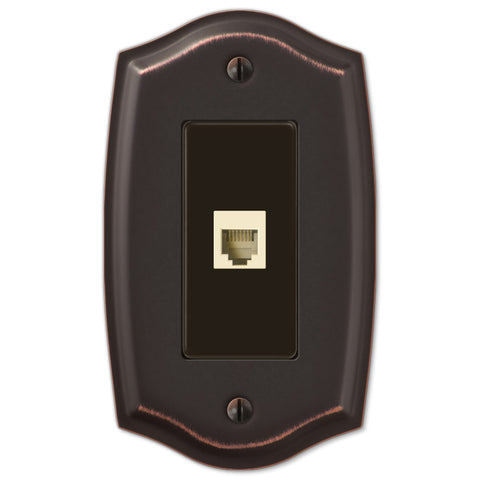 Sonoma Aged Bronze Steel - 1 Phone Jack Wallplate - Wallplate Warehouse