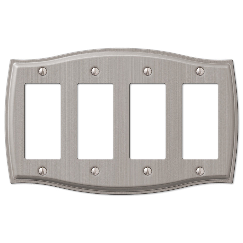 Sonoma Brushed Nickel Steel - 4 Rocker Wallplate - Wallplate Warehouse