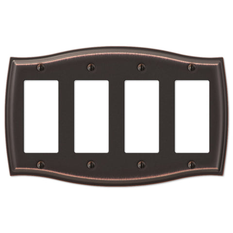 Sonoma Aged Bronze Steel - 4 Rocker Wallplate - Wallplate Warehouse