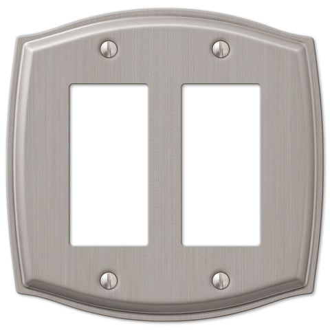 Sonoma Brushed Nickel Steel - 2 Rocker Wallplate - Wallplate Warehouse