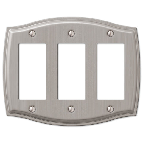 Sonoma Brushed Nickel Steel - 3 Rocker Wallplate - Wallplate Warehouse