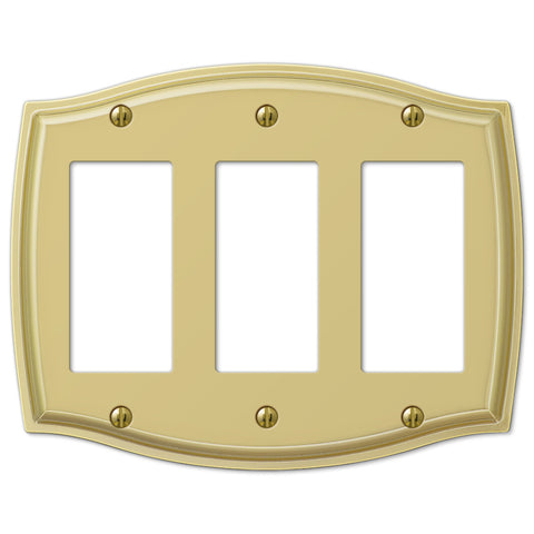 Sonoma Polished Brass Steel - 3 Rocker Wallplate - Wallplate Warehouse