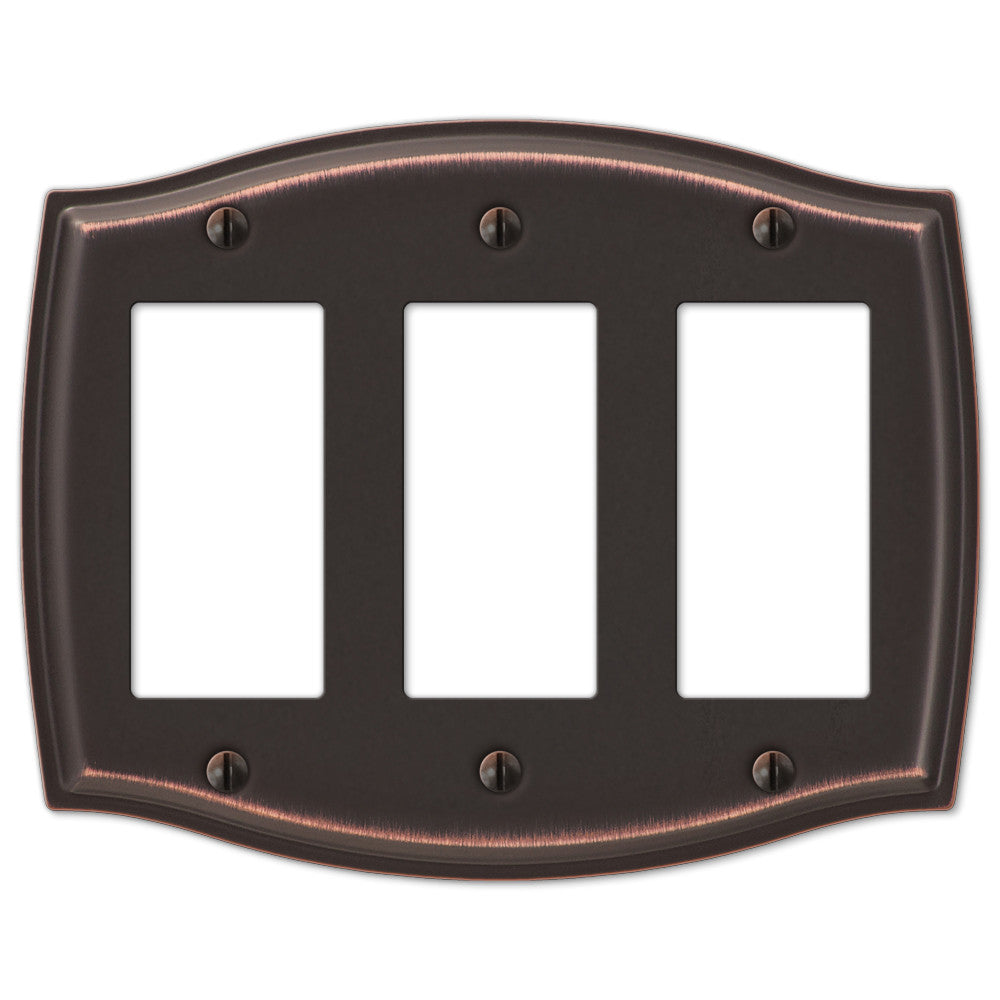 Sonoma Aged Bronze Steel - 3 Rocker Wallplate - Wallplate Warehouse