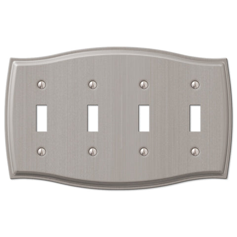 Sonoma Brushed Nickel Steel - 4 Toggle Wallplate - Wallplate Warehouse