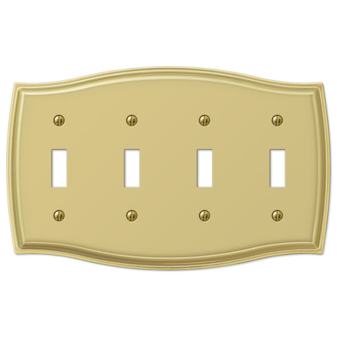 Sonoma Polished Brass Steel - 4 Toggle Wallplate - Wallplate Warehouse