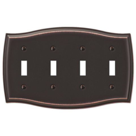 Sonoma Aged Bronze Steel - 4 Toggle Wallplate - Wallplate Warehouse