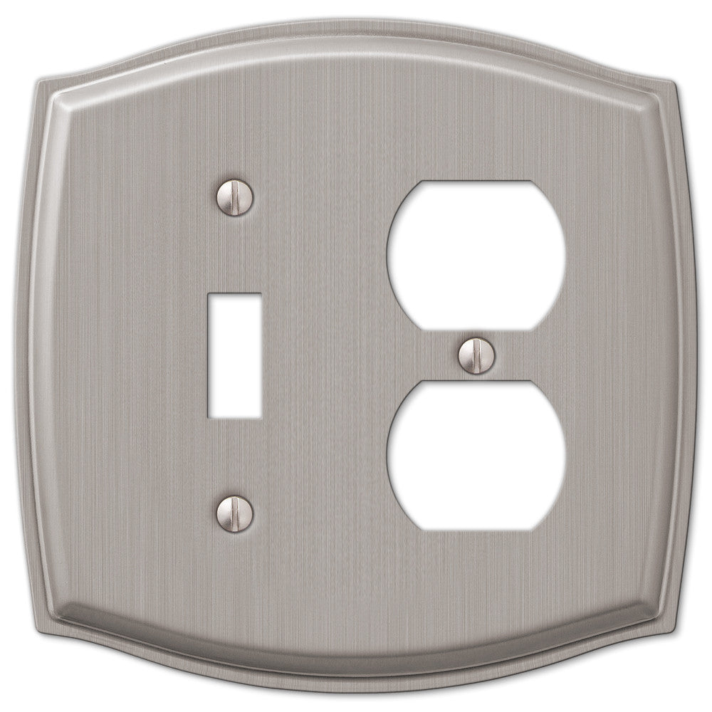 Sonoma Brushed Nickel Steel - 1 Toggle / 1 Duplex Outlet Wallplate - Wallplate Warehouse