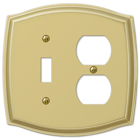 Sonoma Polished Brass Steel - 1 Toggle / 1 Duplex Outlet Wallplate - Wallplate Warehouse