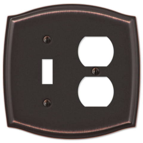 Sonoma Aged Bronze Steel - 1 Toggle / 1 Duplex Outlet Wallplate - Wallplate Warehouse