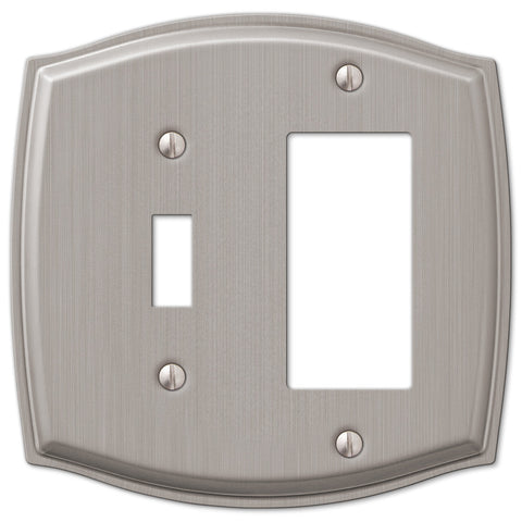 Sonoma Brushed Nickel Steel - 1 Toggle / 1 Rocker Wallplate - Wallplate Warehouse