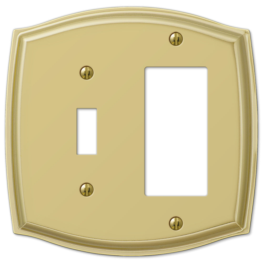 Sonoma Polished Brass Steel - 1 Toggle / 1 Rocker Wallplate - Wallplate Warehouse