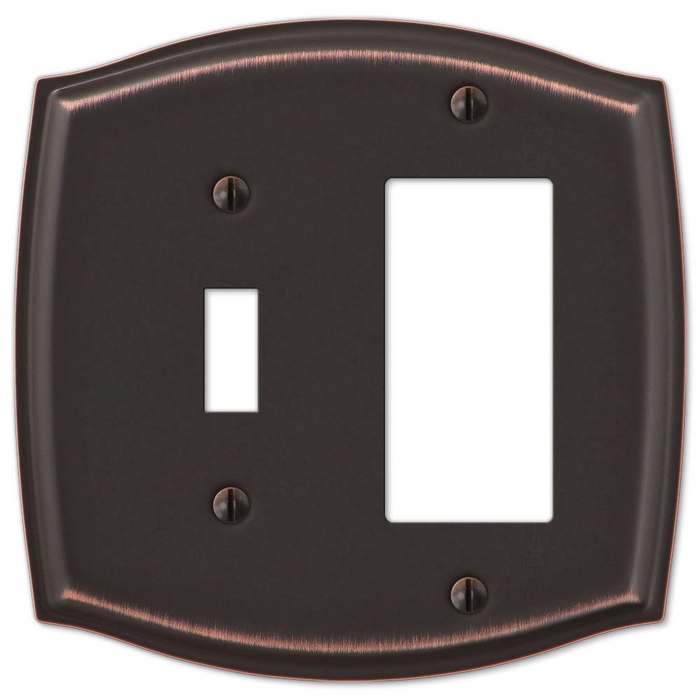 Sonoma Aged Bronze Steel - 1 Toggle / 1 Rocker Wallplate - Wallplate Warehouse