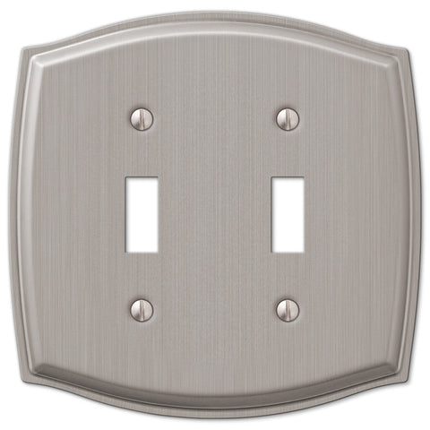 Sonoma Brushed Nickel Steel - 2 Toggle Wallplate - Wallplate Warehouse