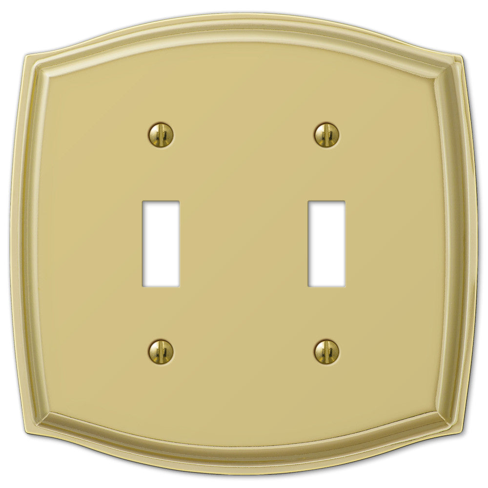 Sonoma Polished Brass Steel - 2 Toggle Wallplate - Wallplate Warehouse
