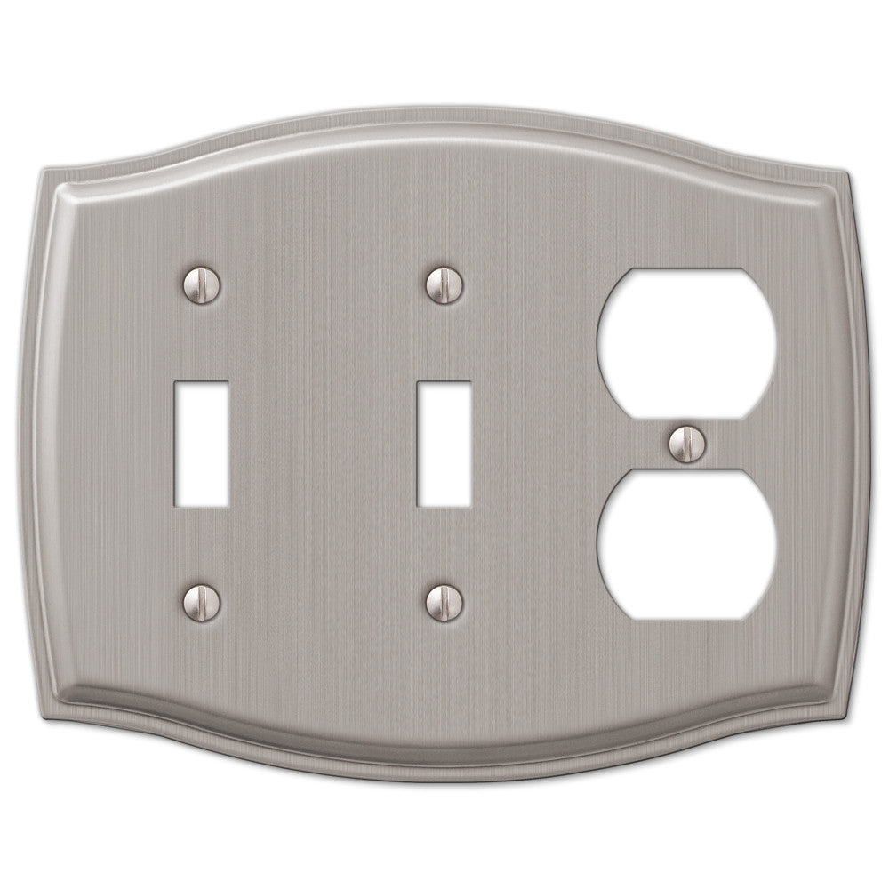 Sonoma Brushed Nickel Steel - 2 Toggle / 1 Duplex Outlet Wallplate - Wallplate Warehouse