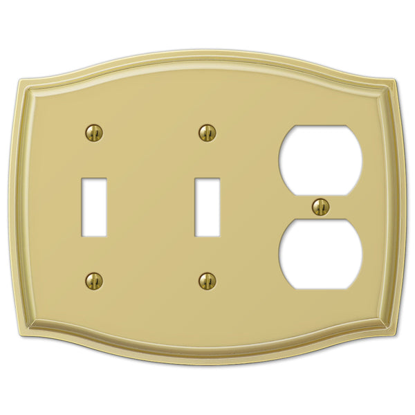 Sonoma Polished Brass Steel - 2 Toggle / 1 Duplex Outlet Wallplate - Wallplate Warehouse