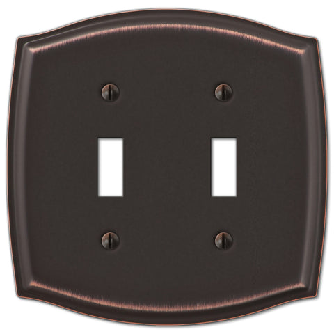 Sonoma Aged Bronze Steel - 2 Toggle Wallplate - Wallplate Warehouse