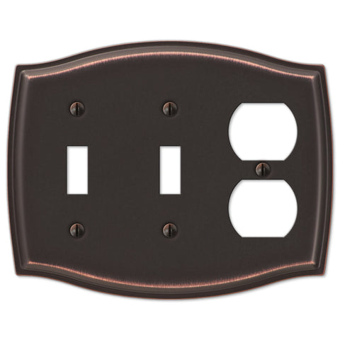 Sonoma Aged Bronze Steel - 2 Toggle / 1 Duplex Outlet Wallplate - Wallplate Warehouse