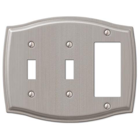 Sonoma Brushed Nickel Steel - 2 Toggle / 1 Rocker Wallplate - Wallplate Warehouse