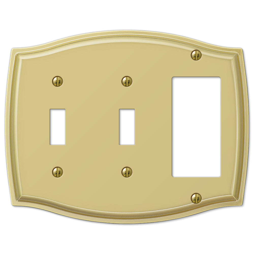 Sonoma Polished Brass Steel - 2 Toggle / 1 Rocker Wallplate - Wallplate Warehouse
