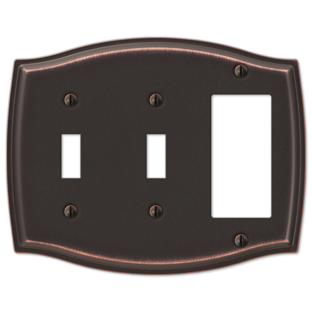 Sonoma Aged Bronze Steel - 2 Toggle / 1 Rocker Wallplate - Wallplate Warehouse