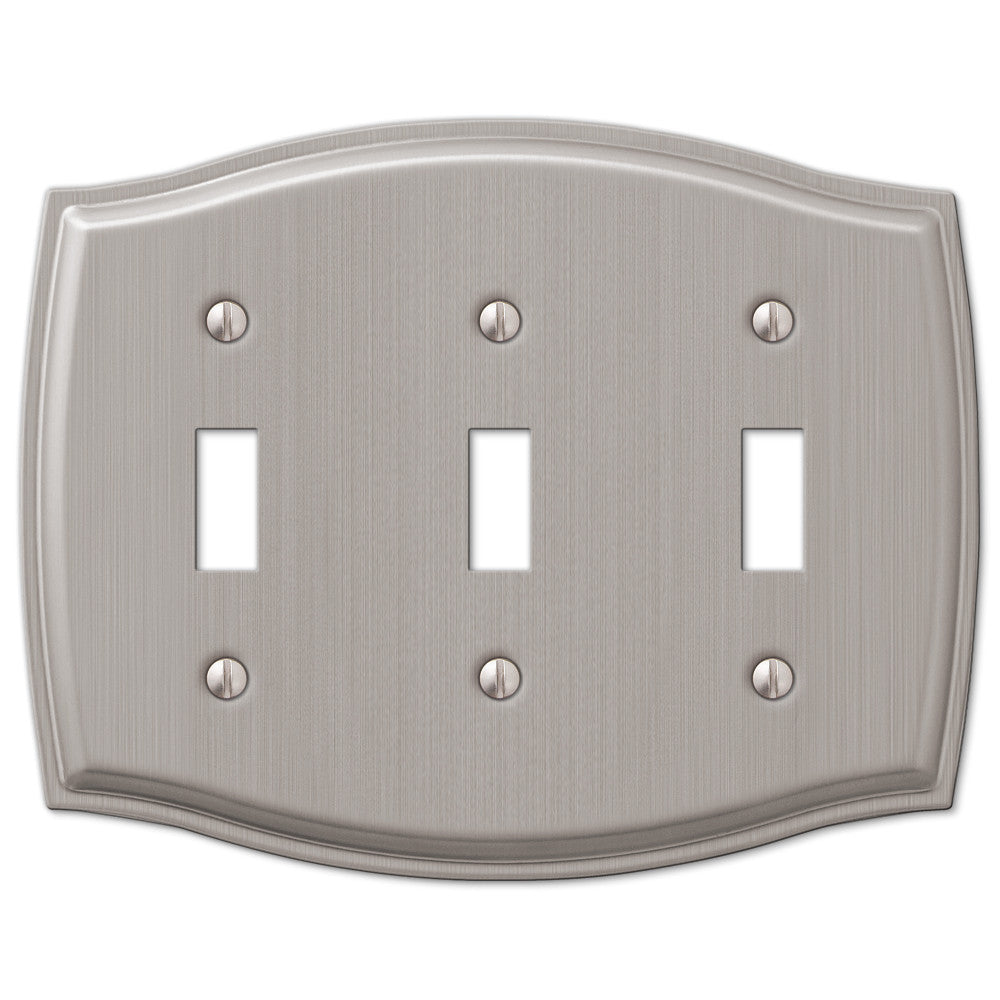 Sonoma Brushed Nickel Steel - 3 Toggle Wallplate - Wallplate Warehouse