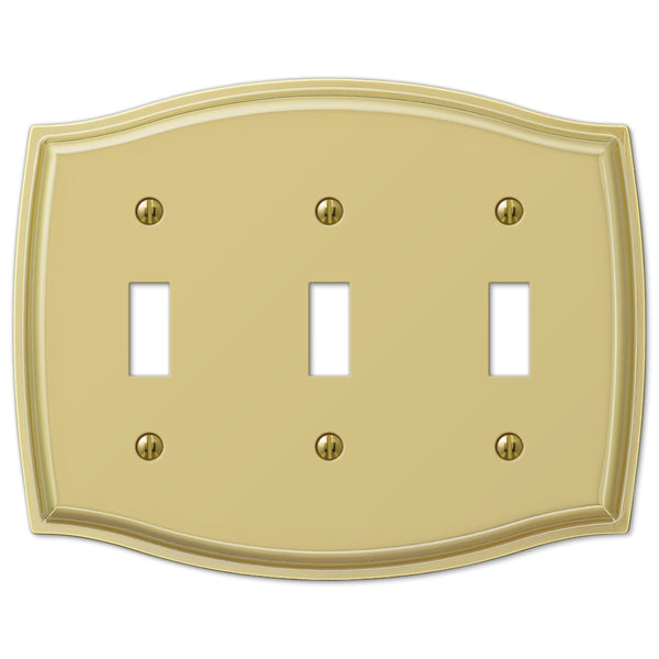 Sonoma Polished Brass Steel - 3 Toggle Wallplate - Wallplate Warehouse