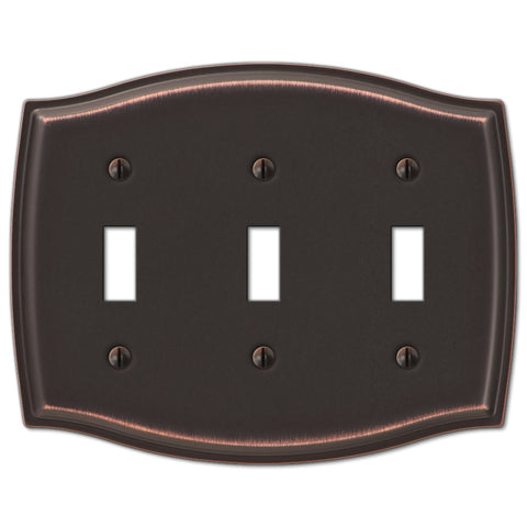 Sonoma Aged Bronze Steel - 3 Toggle Wallplate - Wallplate Warehouse